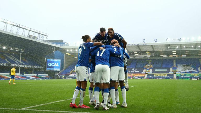 James Rodriguez celebrates with teammates