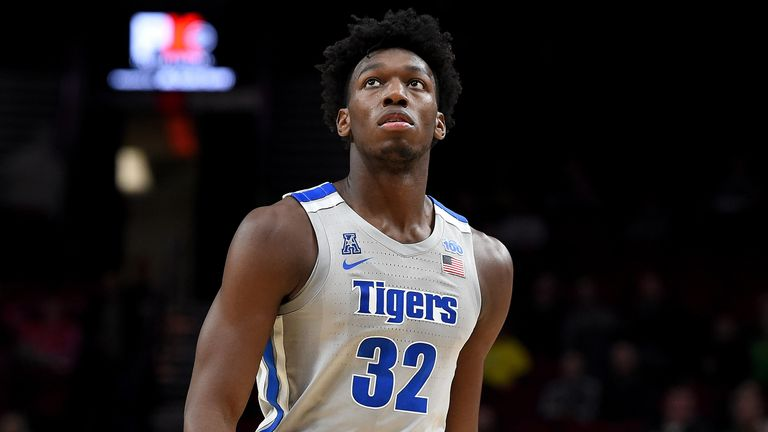 James Wiseman of the Memphis Tigers walks up court during the first half of the game against the Oregon Ducks