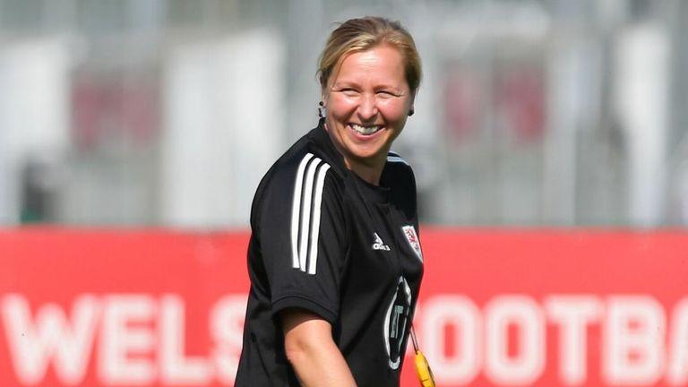 Wales Women manager Jayne Ludlow smiles during training