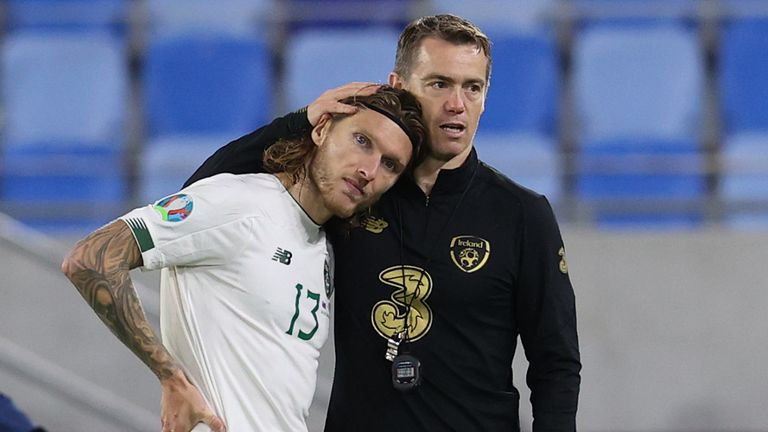 Jeff Hendrick is consoled after Republic of Ireland's Euro 2020 hopes ended