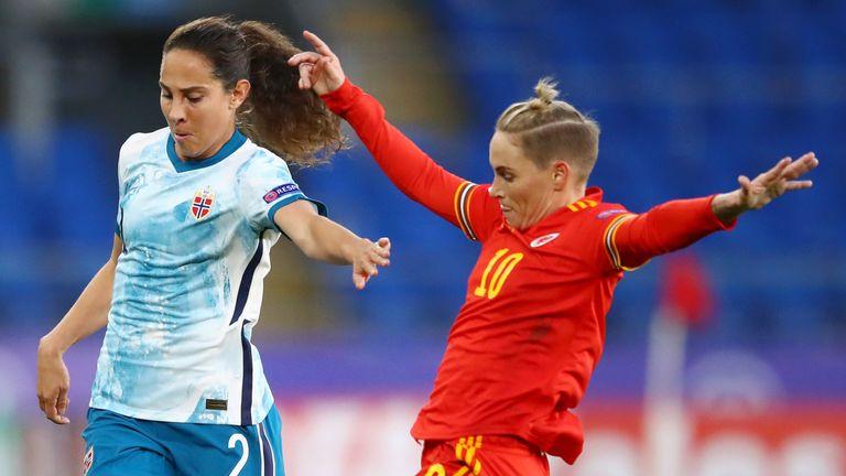 Jess Fishlock battles Ingrid Wold during Wales' Euro 2022 qualifying defeat to Norway