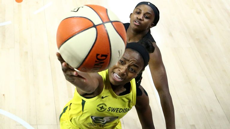 Jewell Loyd attacks the basket in Game 3 of the WNBA Finals