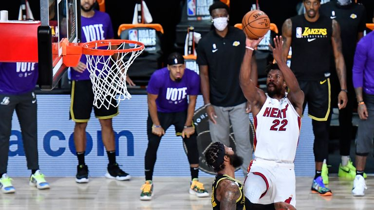 Jimmy Butler of the Miami Heat shoots the ball against the Los Angeles Lakers during Game Five of the NBA Finals