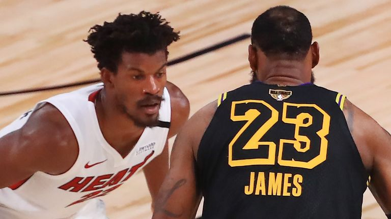 Jimmy Butler guards LeBron James in Game 5 of the NBA Finals