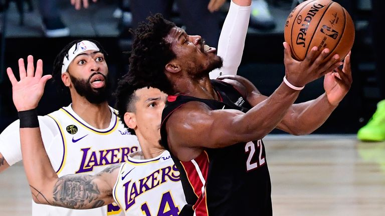 Jimmy Butler attacks the basket against the Los Angeles Lakers in Game 3 of the NBA Finals