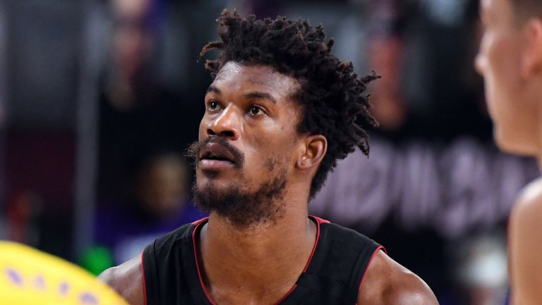 Jimmy Butler shoots a free against the Los Angeles Lakers