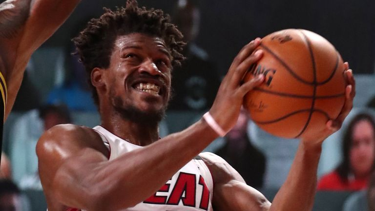Jimmy Butler attacks the basket in Miami's Game 5 win over the Lakers