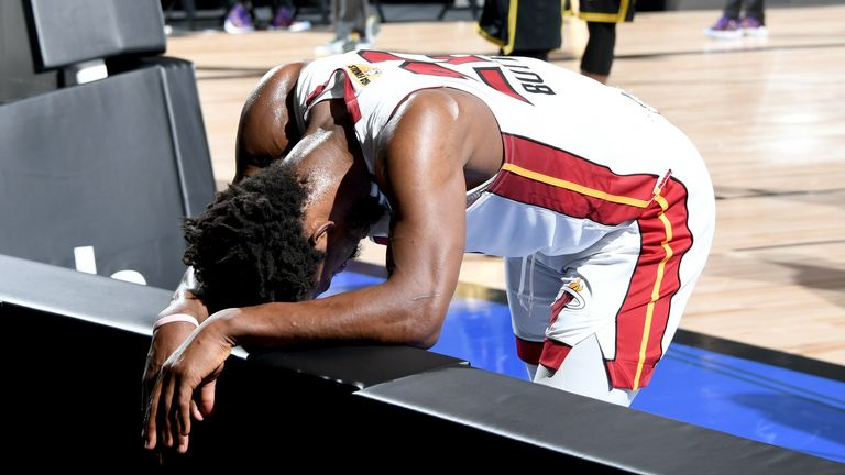 A fatigued Butler catches his breath after being fouled late in the fourth quarter of Game 5 of the NBA Finals