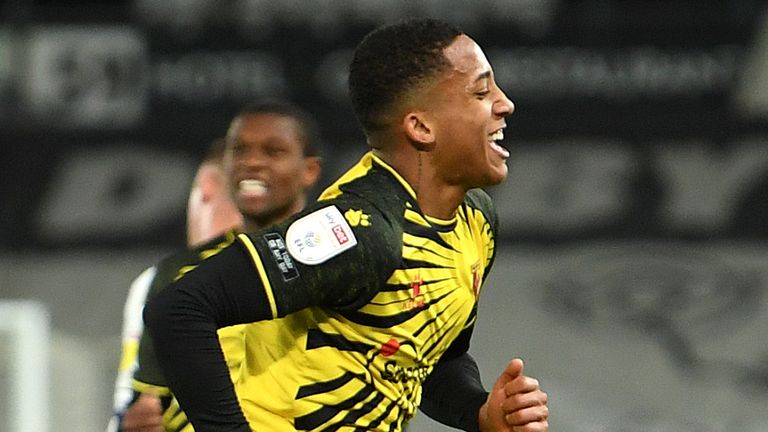 Joao Pedro celebrates scoring for Watford vs Derby