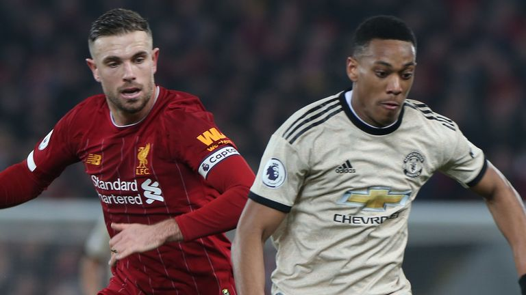 Jordan Henderson and Anthony Martial, Liverpool vs Manchester United