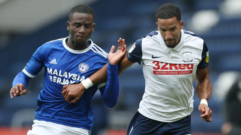 Cardiff's Jordi Osei-Tutu battles for possession during Sunday's match