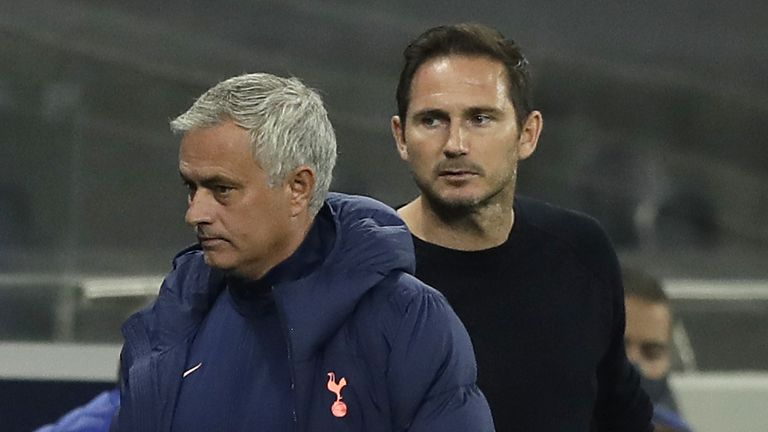 Frank Lampard and Jose Mourinho exchanged words on the touchline on Tuesday