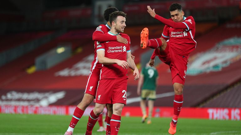 Roberto Firmino and Diogo Jota celebrate against Sheffield United