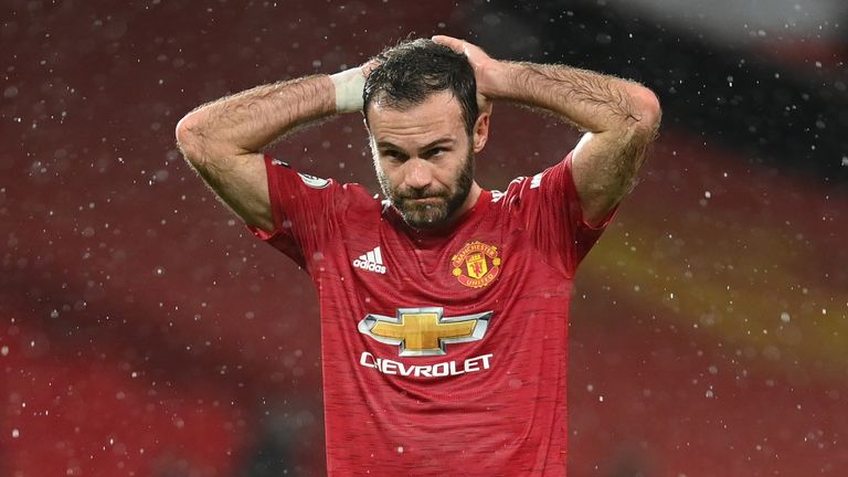 Juan Mata in Manchester United's game against Chelsea at Old Trafford in October 2020