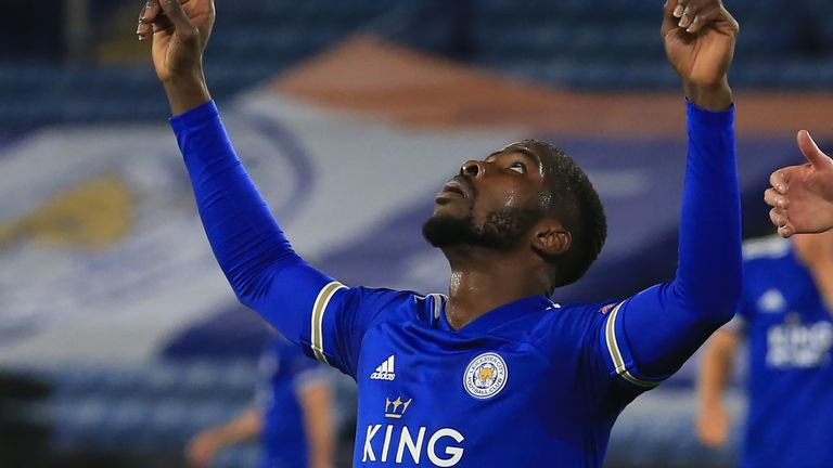 Kelechi Iheanacho celebrates his strike as Leicester made it 3-0 over Zorya