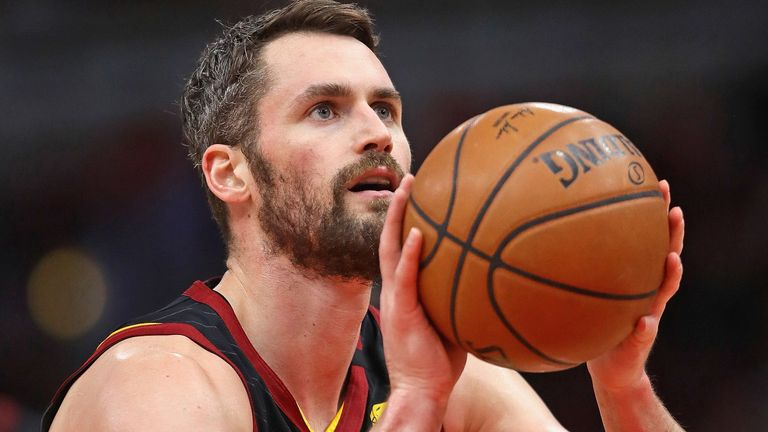 Kevin Love shoots a free throw for the Cleveland Cavaliers