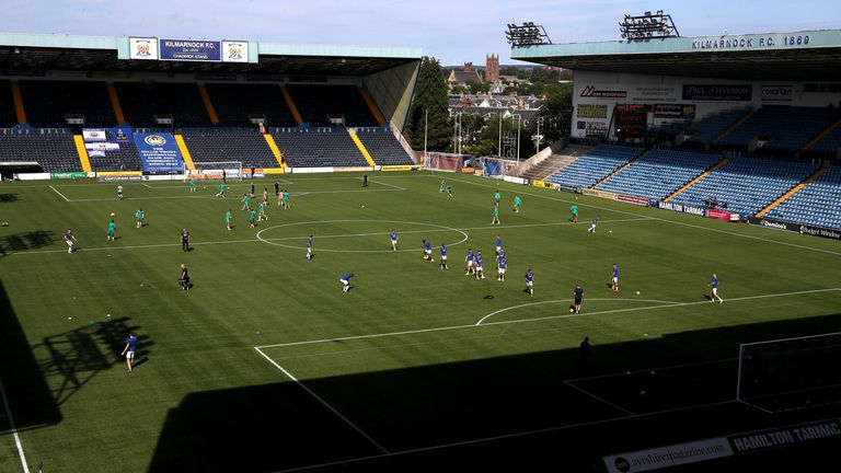 KILMARNOCK, SCOTLAND - AUGUST 09: General view inside the stadium as the two teams warm up prior to the Ladbrokes Scottish Premiership match between Kilmarnock and Celtic at Rugby Park on August 09, 2020 in Kilmarnock, Scotland. (Photo by Ian MacNicol/Getty Images)