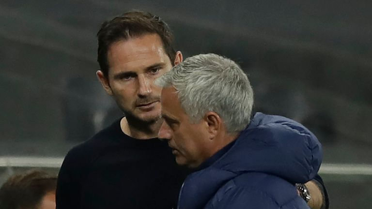 Things got heated on the touchline between Chelsea boss Frank Lampard and Tottenham's Jose Mourinho during Tuesday's game