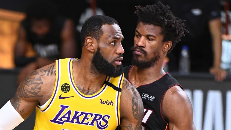 LeBron James is guarded by Jimmy Butler in Game 4 of the NBA Finals