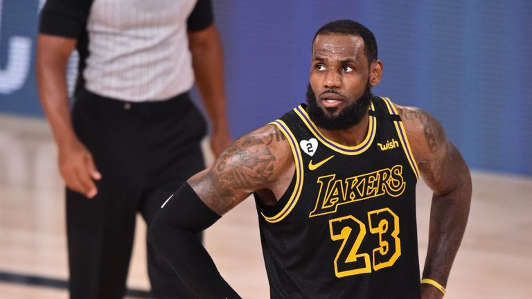 LeBron James of the Los Angeles Lakers looks on against the Miami Heat during Game Five of the NBA Finals