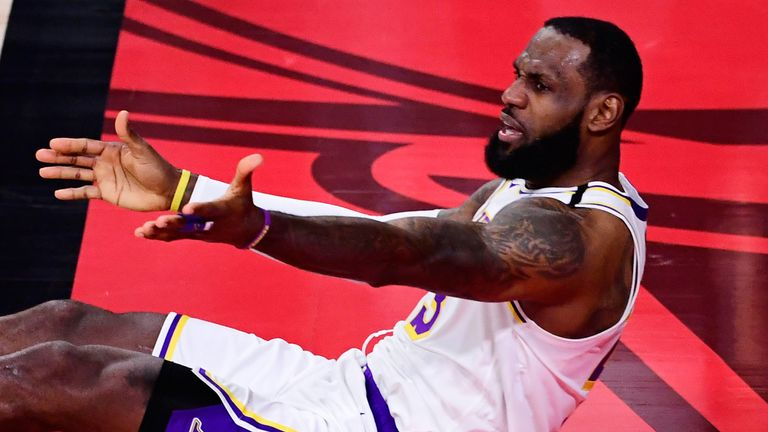 LeBron James appeals for a call in the Lakers' Game 3 loss to the Heat
