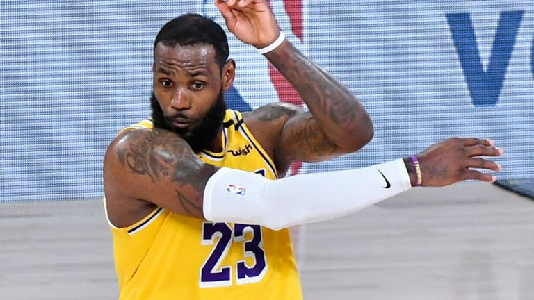 LeBron James unleashes a bounce pass during the Lakers' Game 4 win in the NBA Finals