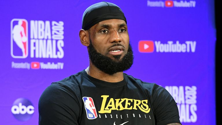 LeBron James speaks with reporters following the Lakers' Game 5 loss in the NBA Finals