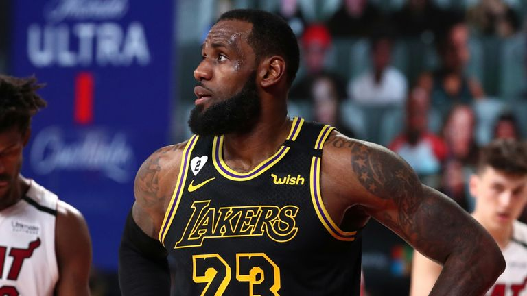 LeBron James shows concern during the Lakers' Game 5 loss to the Heat in the NBA Finals