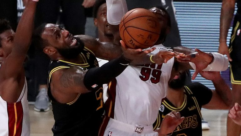 LeBron James attacks the basket during Game 5 of the NBA Finals