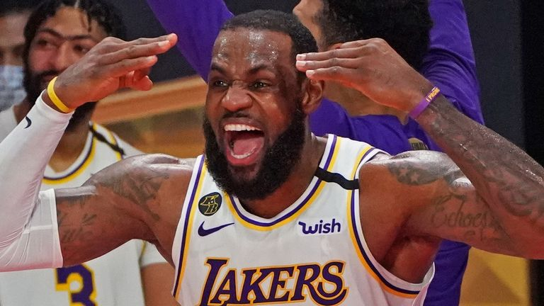 LeBron James celebrates the Los Angeles Lakers' NBA title win at the end of Game 6
