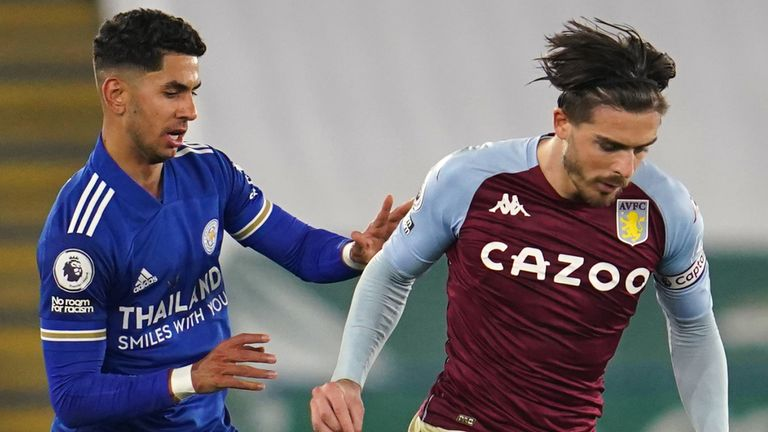Leicester City's Ayoze Perez (left) and Aston Villa's Jack Grealish battle for the ball