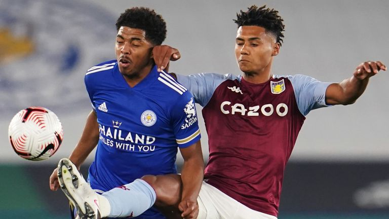 Leicester City's Wesley Fofana (left) and Aston Villa's Ollie Watkins battle for the ball
