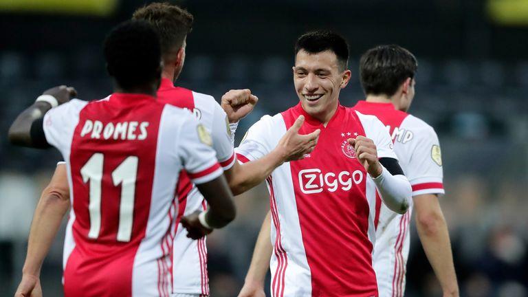 Lisandro Martinez celebrates Ajax's 12th goal with Klaas Jan Huntelaar