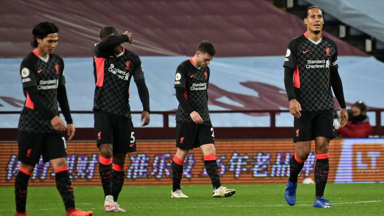 Liverpool players react to conceding their sixth goal against Aston Villa