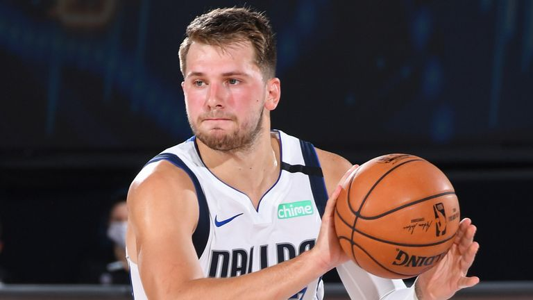 Luka Doncic looks to pass during the Dallas Mavericks' first-round playoff series against the LA Clippers