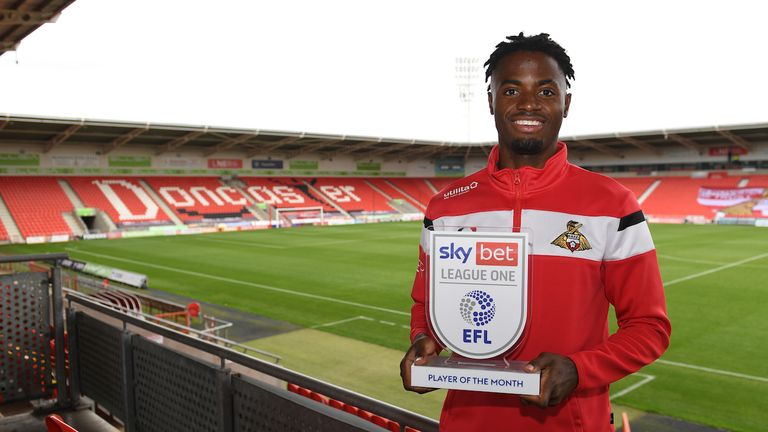 Picture Howard Roe/AHPIX LTD, Football, Sky Bet League One,.Doncaster Rovers .Keepmoat Stadium, Doncaster, UK, 08/10/2020, .Howard Roe 07973739229.Doncaster's Madger Gomes recieves EFL Player of the Month for September 2020