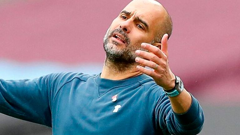 Pep Guardiola cuts a frustrated figure during Manchester City's 1-1 draw at West Ham