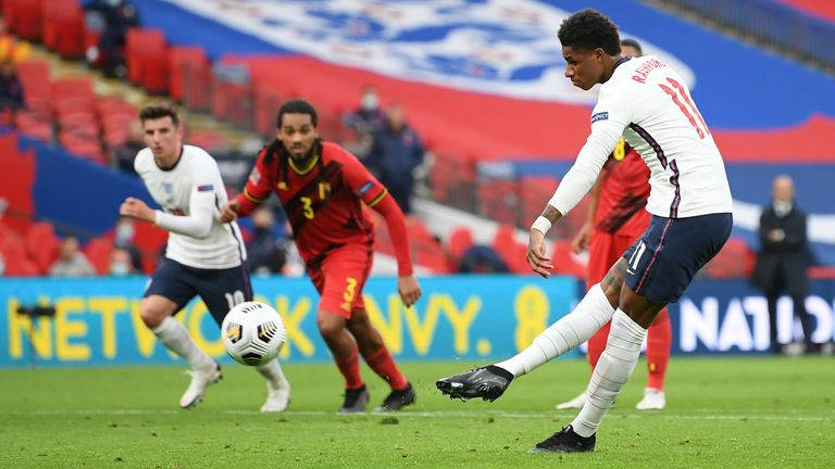 Marcus Rashford equalises for England against Belgium from the penalty spot