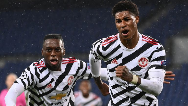 Marcus Rashford celebrates scoring for Man Utd vs PSG