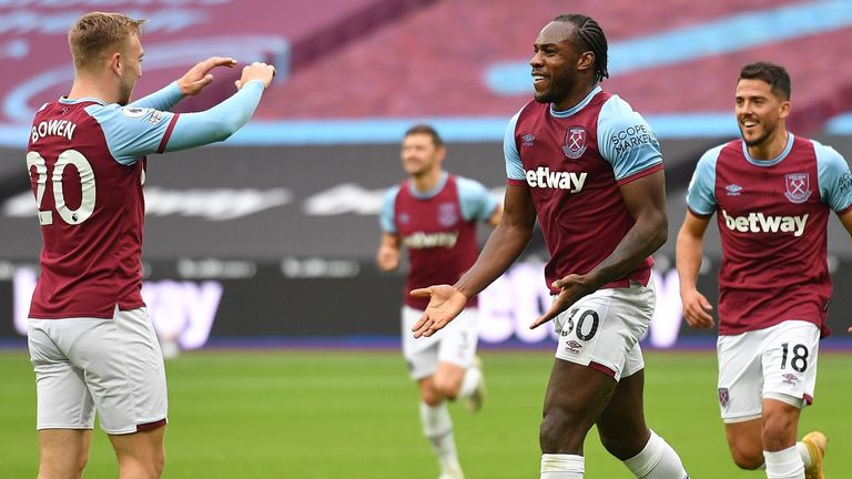 Michail Antonio celebrates his goal for West Ham