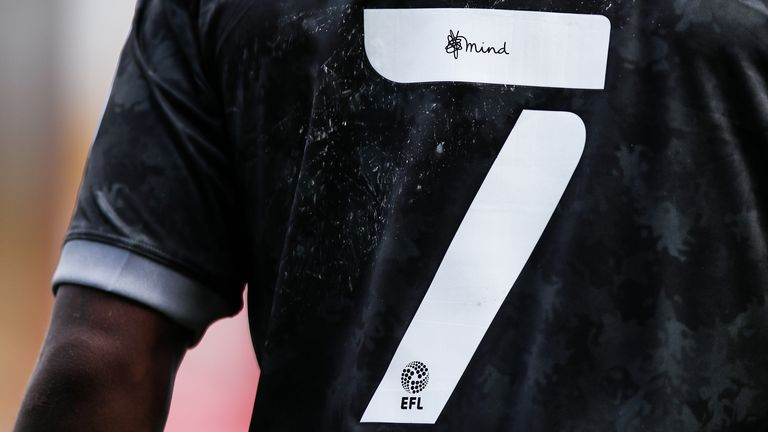 Detail of the mind charity logo on an EFL style number seven during the Carabao Cup First Round match between Walsall and Sheffield Wednesday at Banks Stadium on September 5, 2020 in Walsall, England.