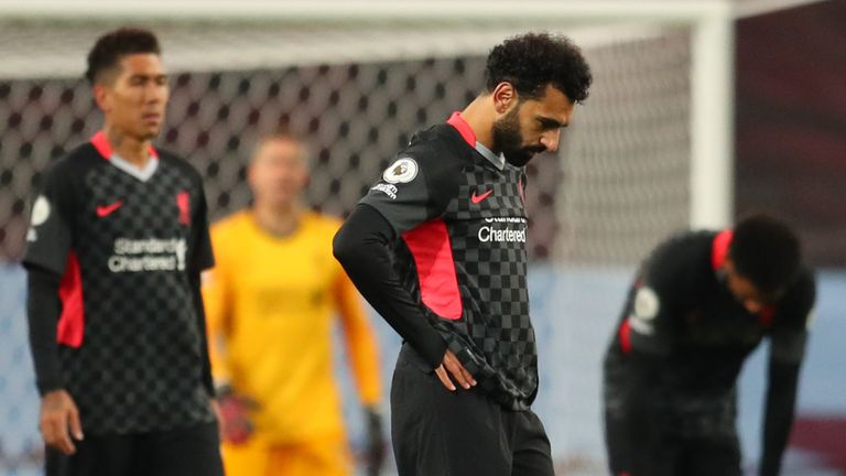 Mohamed Salah and his Liverpool teammates react after Villa score their fifth goal