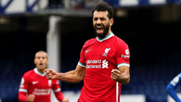 Mohamed Salah celebrates after putting Liverpool 2-1 up