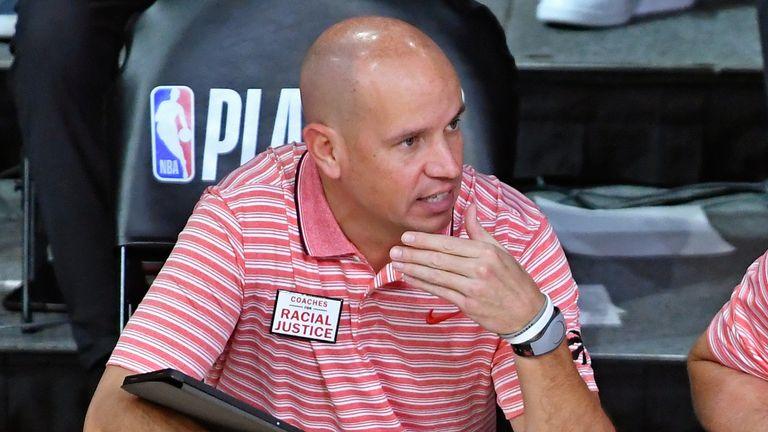Nate Bjorkgren pictured on the Raptors sideline during the 2020 NBA restart