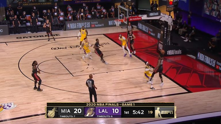 Jimmy Butler's brilliant assist for Jae Crowder proved in vain for Miami as the Heat fell to an opening loss against the Los Angeles Lakers in the NBA Finals.