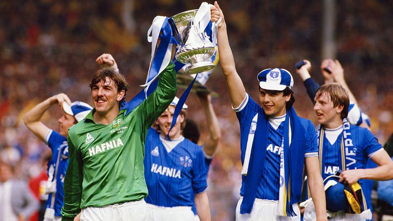 Southall celebrates winning the 1984 FA Cup with Everton striker Graeme Sharp