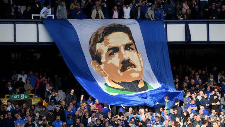 Everton fans unveiled a Neville Southall flag during the match against West Ham United at Goodison Park on September 16, 2018