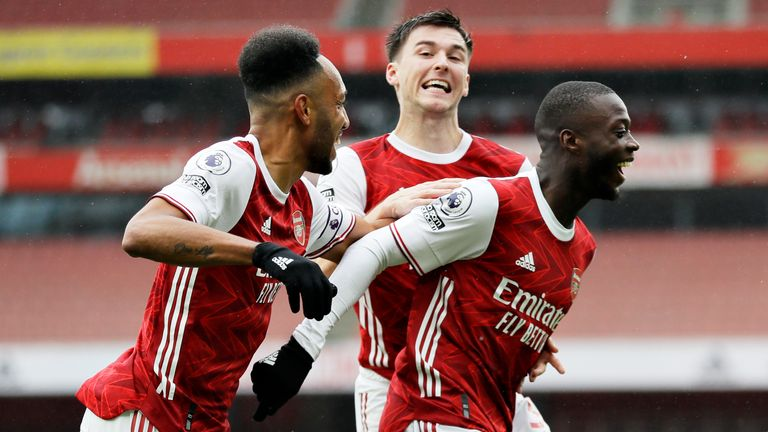 Nicolas Pepe celebrates making it 2-0 against Sheffield United