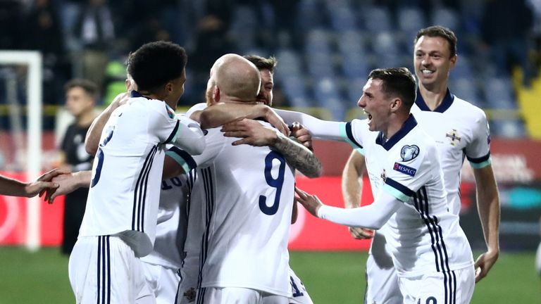 SARAJEVO, BOSNIA AND HERZEGOVINA - OCTOBER 08: Northern Ireland players celebrate a penalty shootout victory after  UEFA Euro 2020 play-off Semi Finals match between Bosnia And Herzegovina and Northern Ireland at Stadium Grbavica on October 8, 2020 in Sarajevo, Bosnia and Herzegovina. (Photo by Armin Durgut/Pixsell/MB Media/Getty Images)