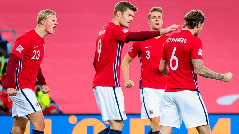Norway's forward Erling Braut Haaland and his teammates celebrate after an own goal by Northern Ireland during the UEFA Nations League football match Norway v Northern Ireland in Oslo, Norway, on October 14, 2020. (Photo by Orn E. BORGEN / NTB / AFP) (Photo by ORN E. BORGEN/NTB/AFP via Getty Images)